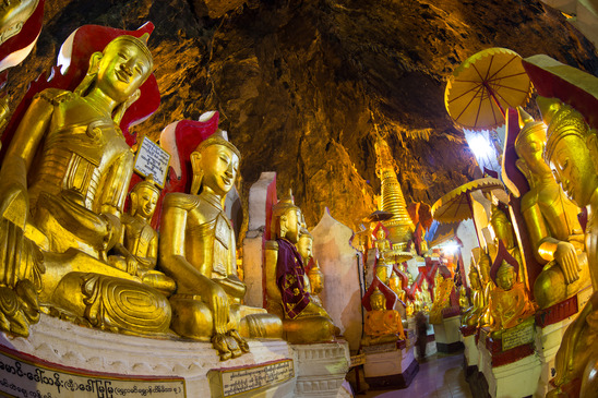 Golden Buddha statues in Pindaya Cave